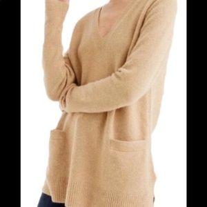 J crew v neck super soft camel sweater